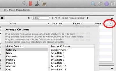 Daylite List Column Selector