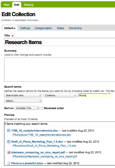 Plone 4.2 New Collection Screenshot