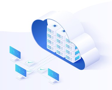 computer servers in a cloud outline