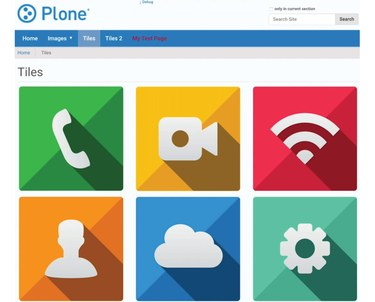 Image of a Plone page with 6 images in a grid
