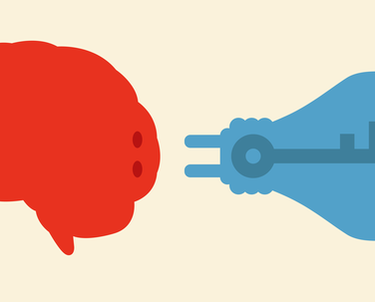 Red brain and blue light bulb with key and keyhole, respectively
