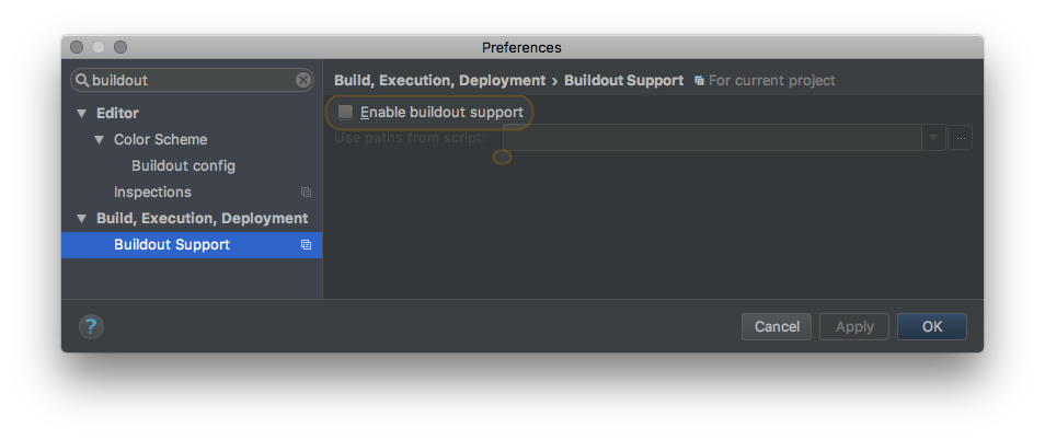 PyCharm Buildout Settings