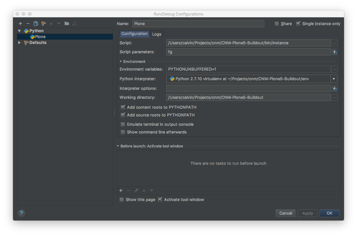 PyCharm Plone Run Configuration