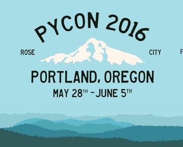 PyCon 2016 logo with blue mountains in background