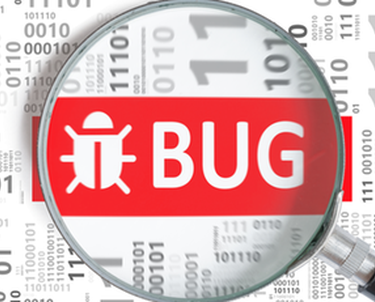 Magnifying glass on graphic of bug