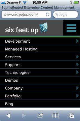 Six Feet Up's mobile drop-down menu