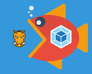 Fish with webpack logo about to eat Grunt logo