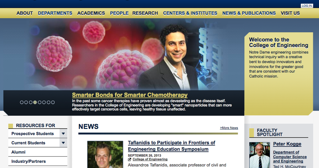 Engineering.nd.edu goes live with subsites, syndication, and member featuring