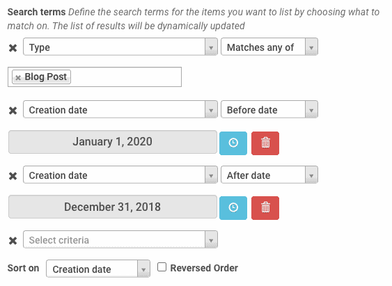 Showing 3 conditions type matches blog post creation date before date 01/01/2020 and after date 12/31/2020