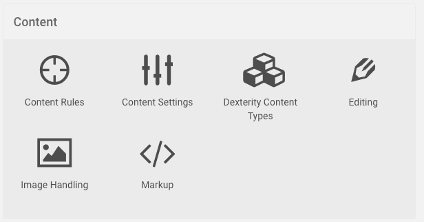Content Menu with the Dexterity Content Types item