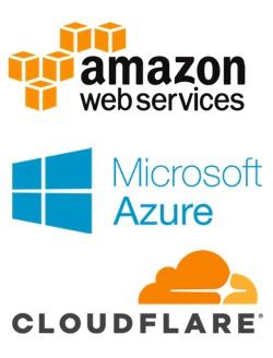 AWS, Azure, Cloudflare logos