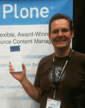 Calvin Hendryx-Parker with New Plone 20 Questions Brochure
