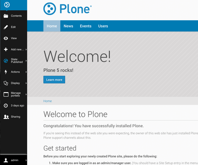 The new Plone 5 toolbar in action