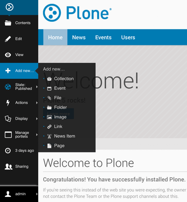 How to add content with Plone 5 toolbar